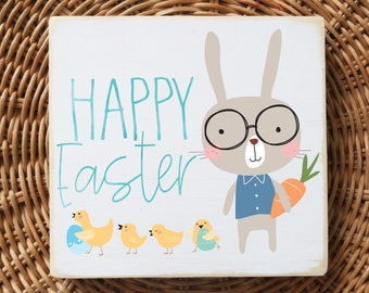 """Happy Easter /  Easter bunny with glasses / mini wood sign quote block 5.5'x6"""""""
