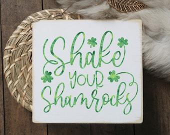 "Shake your shamrocks / St. Patrick's day sign / mini wood sign / 5.5x6"""