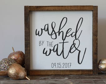 Personalized baptism gift / Washed by the water / wooden sign / christian decor