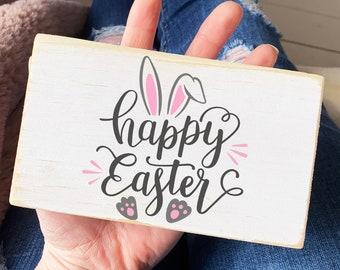 Happy Easter wood sign / bunny mini wood sign / modern farmhouse decor