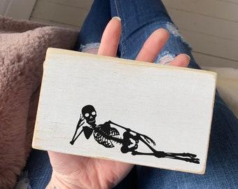 "Halloween skeleton wood sign / Halloween fall decor / 3.5x6"""
