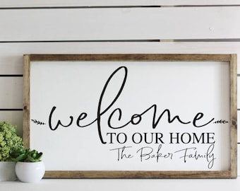 """welcome to our home sign / personalized last name wood sign / 14x24"""""""