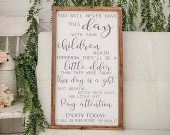 inspirational children's quote, modern farmhouse, baby gift, modern farmhouse, framed wood sign
