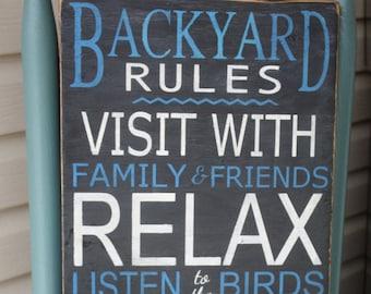 "Backyard rules wood sign / 12x24"""