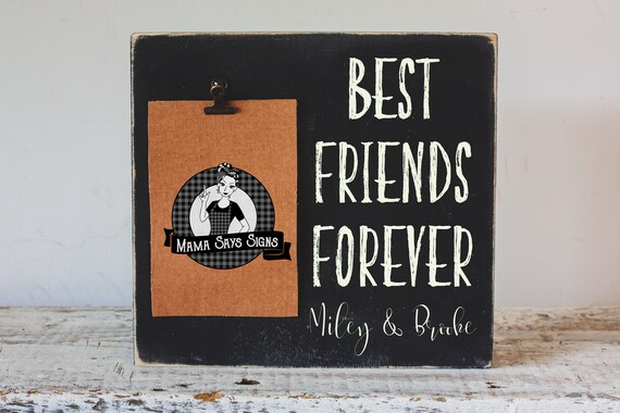 Best Friends Forever Picture Frame Personalized Wood Sign Etsy