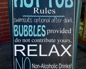 """Funny hot tub sign / personalized hot tub / outdoor wooden sign / 12x24"""""""