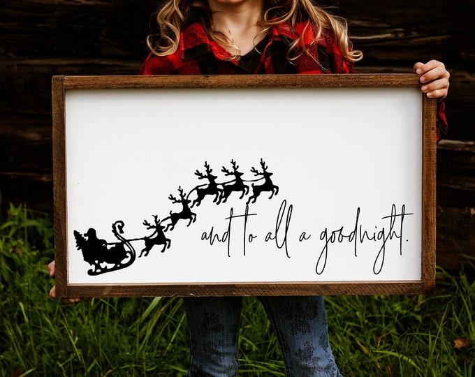 """Christmas sign / the night before Christmas wood wall art / and to all a goodnight framed Holiday Decor / 14x24"""""""
