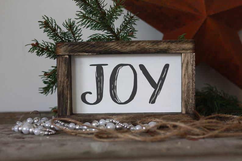 Joy Sign Mini Wood Sign Christmas Signmodern Farmhouse Wall Etsy