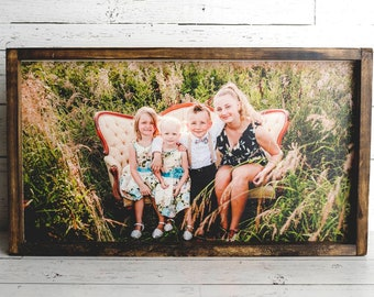 Photo gift / Your photo printed on wood / framed sign modern farmhouse style / wedding gift / family portrait sign
