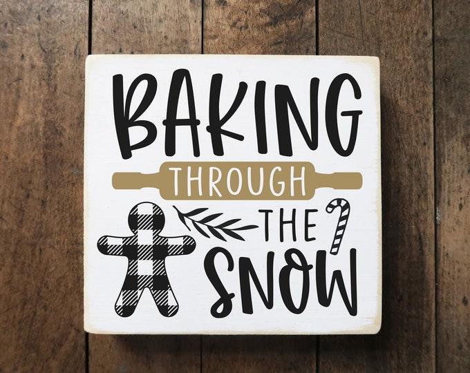 "Baking through the snow / black plaid / Christmas decoration / tiered tray decor / 5.5x6"""