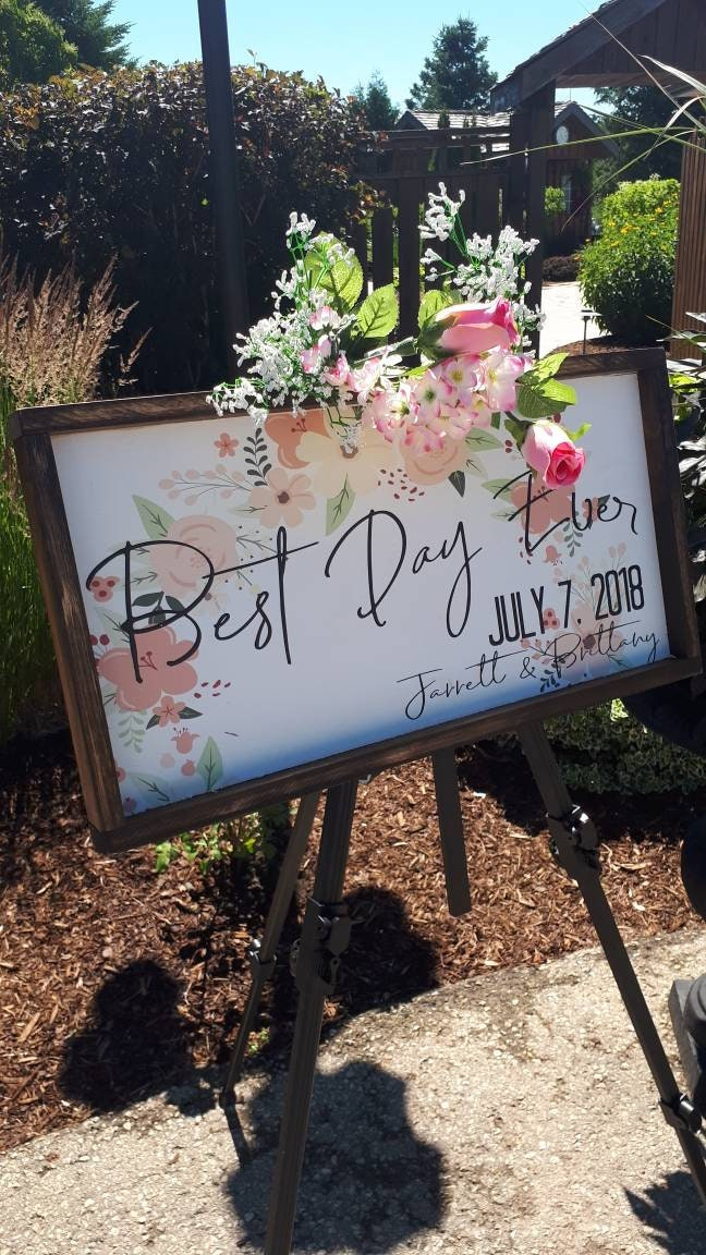 Best Day Ever Personalized Wedding Sign Wedding Decor Framed Wall