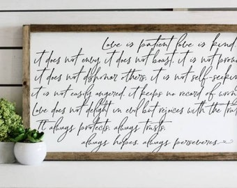"""Love is patient, love is kind, Wedding sign, 1st Corinthians, christian wood decor, gift for bride and groom, 14x24"""""""