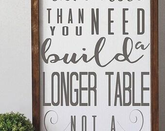 Build a longer table not a taller fence, framed inspiration, modern farmhouse decor,  kitchen sign