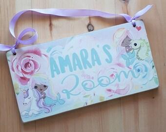 Kids door name sign, unicorn mermaid Children's bedroom decor, nursery wall art