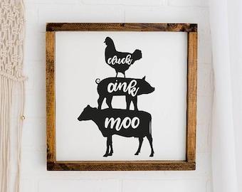 Farmhouse wood sign / modern farmhouse decor / chicken,cow, pig