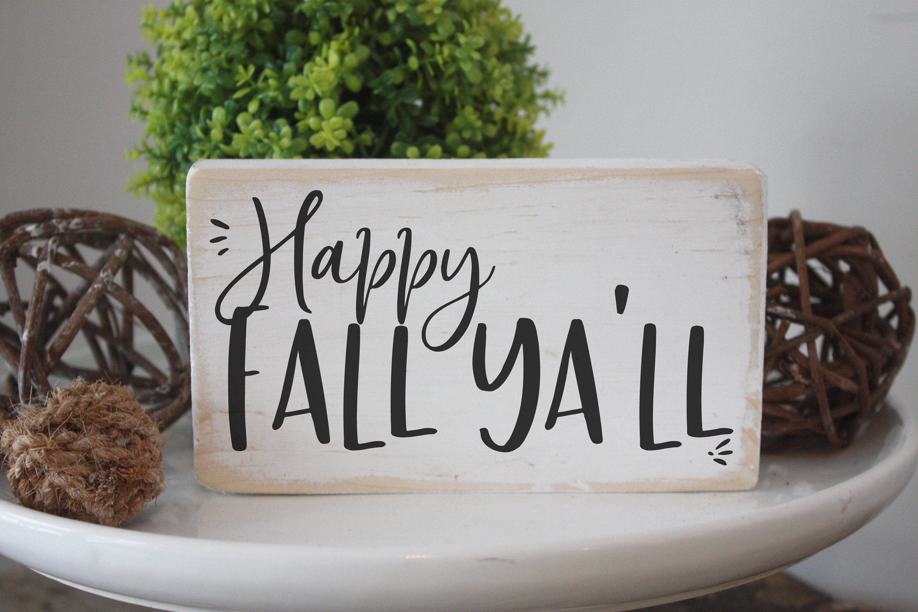 Happy Fall Ya Ll Mini Wood Sign Simple Halloween Decor Modern Farmhouse Decor Small Signs Home Decor Halloween Accent Piece