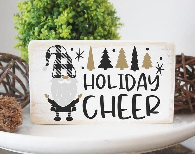 Holiday cheer / gnome black buffalo plaid / mini wood Christmas sign  / holiday decor / tiered tray sign