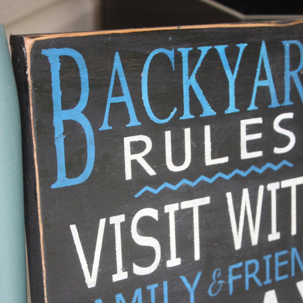 Backyard Rules Sign Patio Signs Wood Sign Home Decor