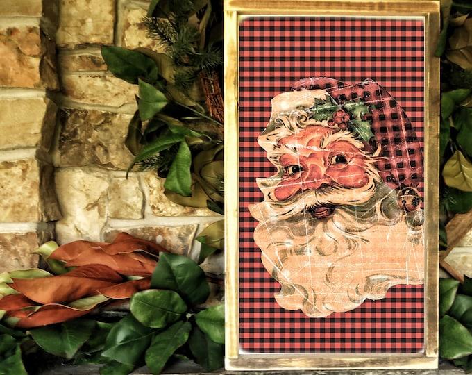 "Christmas sign / Santa Claus red Buffalo plaid /  Christmas decoration 14x24"""