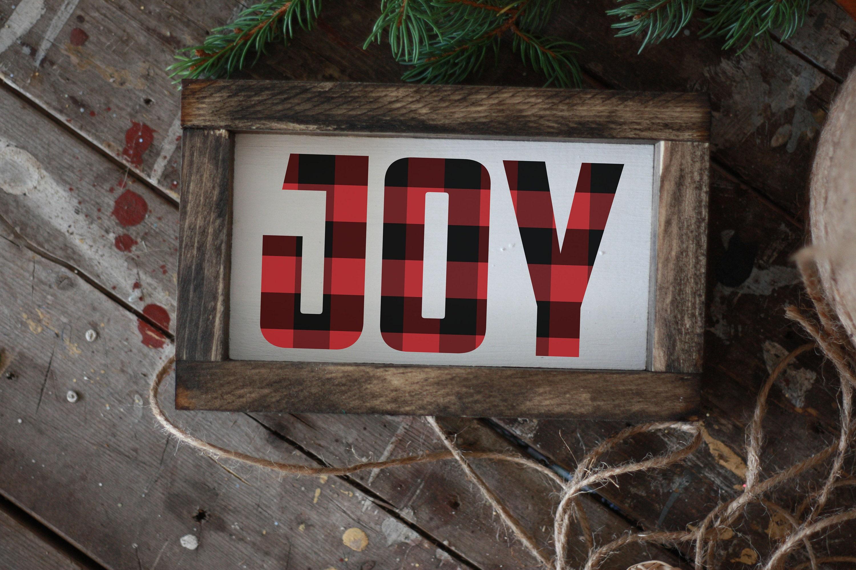 JOY buffalo plaid Christmas sign, framed mini wood holiday sign ...
