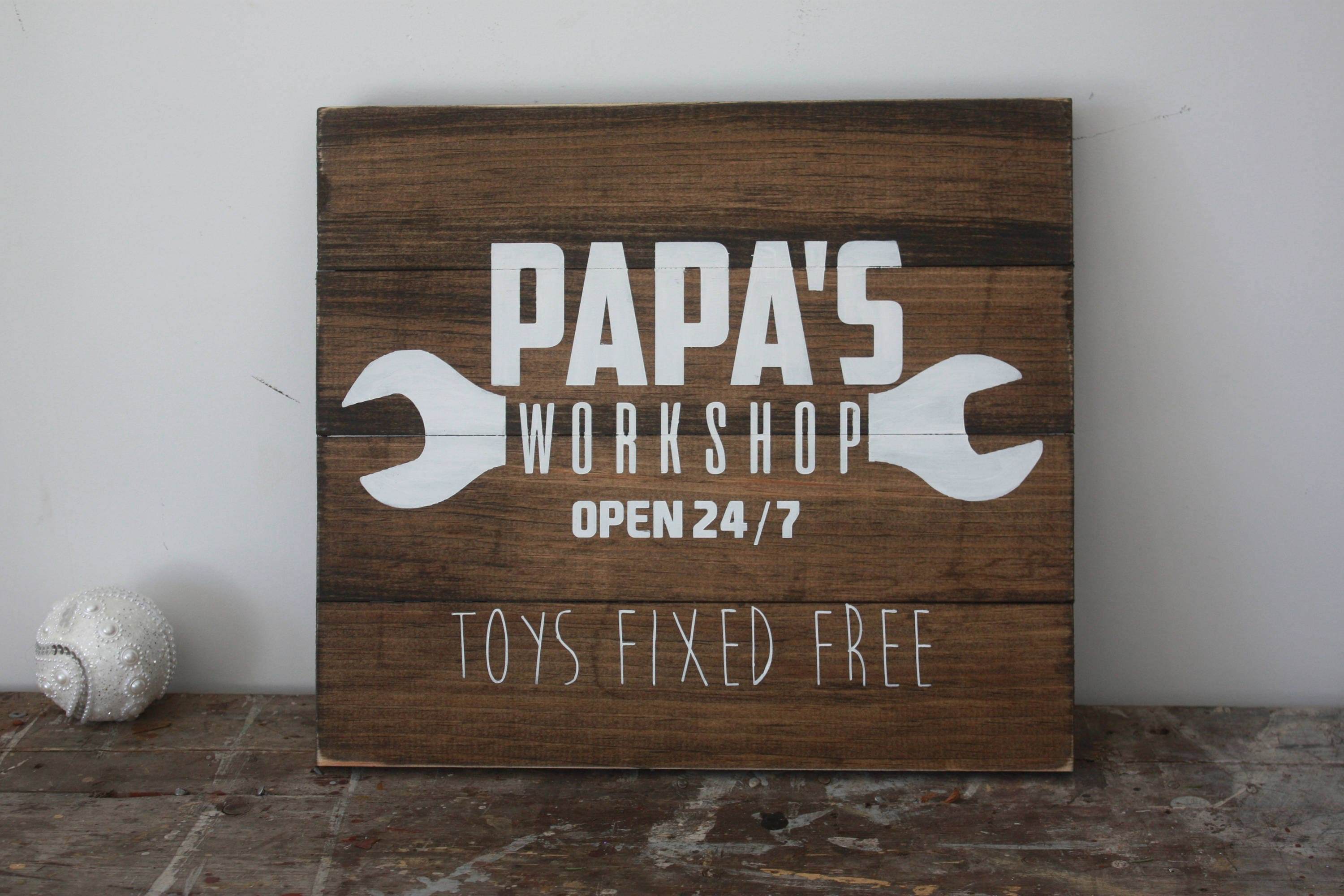 papas workshop sign grandpa gift personalised garage decor hand painted home decor christmas present rustic wooden plaque tool sign - Garage Decor