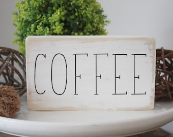 """Coffee wood sign / rustic simple farmhouse / mini wood signs for tiered trays / coffee bar sign / 3.5x6"""""""