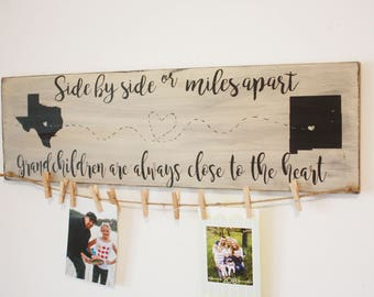 Miles apart always close to the heart, personalized ,Wooden Sign