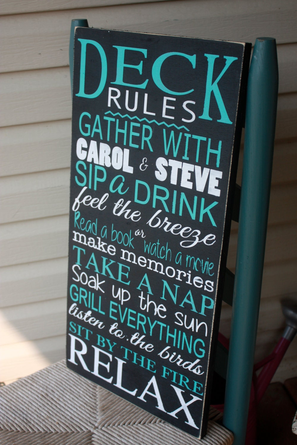 Deck Rules Sign Patio Rules Personalized Outdoor Wooden