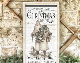 "framed wood Christmas sign /  vintage Santa Claus Christmas supply co 14x28"""