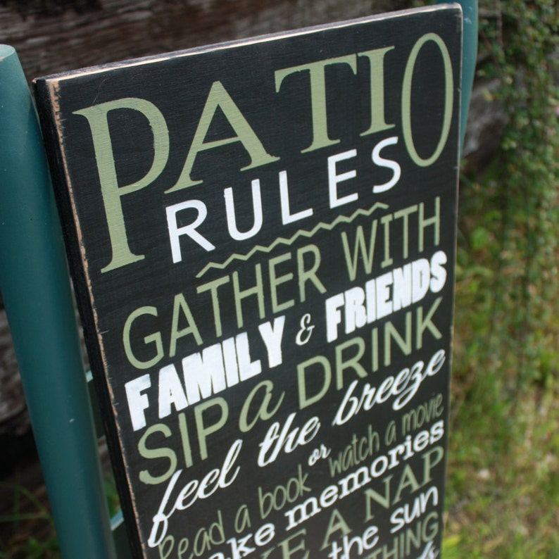 Patio Rules Sign Deck Decor Wooden Sign Home Decor Outdoor