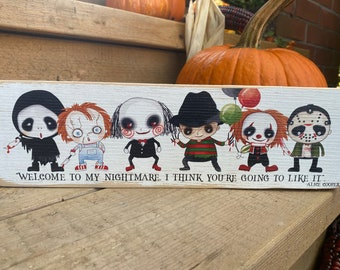 "Halloween horror characters wood sign / Halloween fall decor / 3.5x12"""