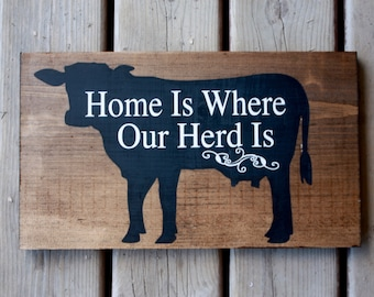 Farm sign decor, cow farmer, dairy, beef, home is where our herd is, hand painted art, On the farm word art, Rustic decor, farm house style
