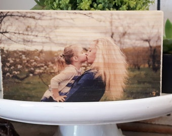 "photo block, photo block on wood, custom photo gift, mini desk sign, picture on wood, wood plaque, photo printed on wood, 3.5x6"" pine mini"