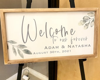 """Personalized Wedding welcome sign / wedding decor / 14x24"""""""