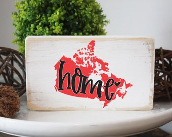 """Canada map home wood sign / Canada Day decor / mini signs for tiered trays / 3.5x6"""""""
