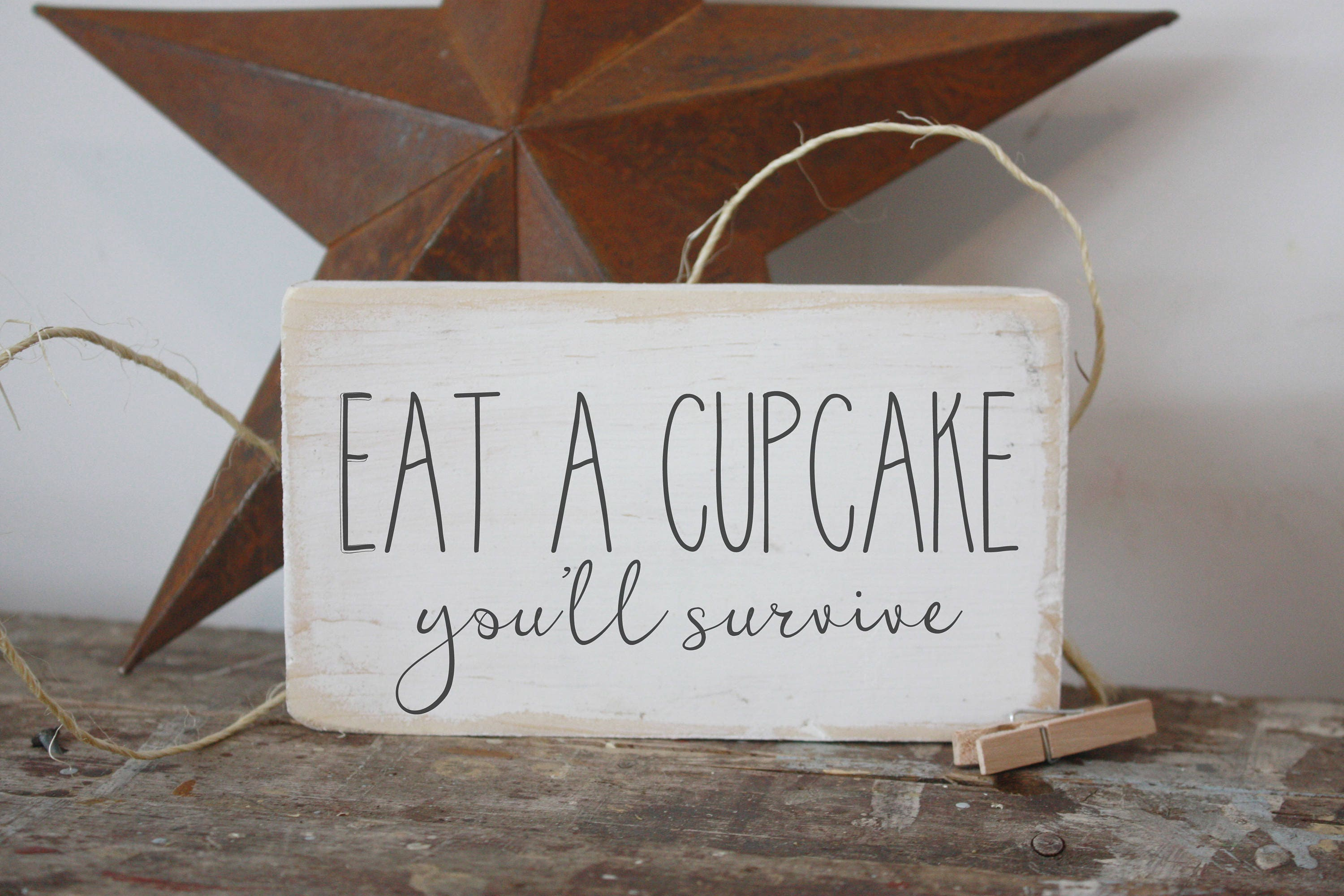 mini sign, eat a cupcake, funny kitchen sign, quote block, gallery ...
