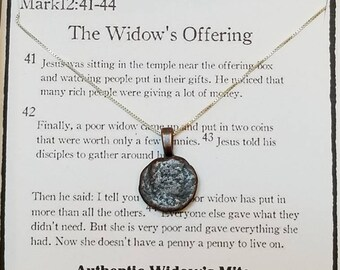 Authentic Widow's Mite -Meaningful Necklace- Biblical- Religious- Rare - Necklace - Christmas Gift - Ancient Widow's Mite Coin Necklace