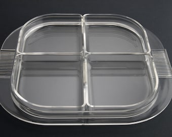 Divided Acrylic Serving or Condiment Tray with removable inserts
