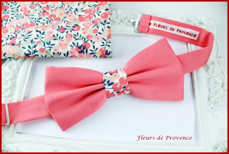 559710ddf2d Set Noeud Papillon et Pochette costume assortie Tissu corail