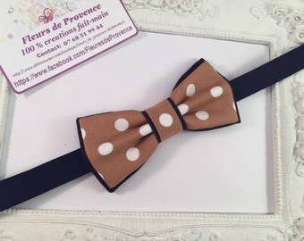 Bow tie double Tan and Blue Navy 'Points' - children
