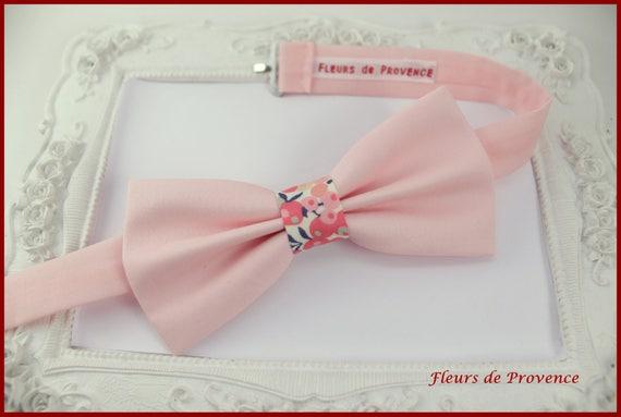 prix plancher rechercher le meilleur qualité authentique Noeud Papillon Tissu rose - pêche et Liberty Wiltshire pois de senteur -  Homme / enfant / bebe