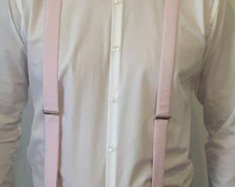 Pastel pink fabric straps - man