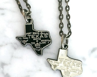 Texas Necklace, Bronze Jewelry, Hand Painted Necklace, Texas Love, Texas Gift, Texas Jewelry, State Jewelry, Texas Charm
