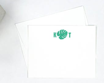 Personalized Note Cards - Monstera Mongram