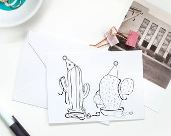 Folded Note Cards - Party Cactus