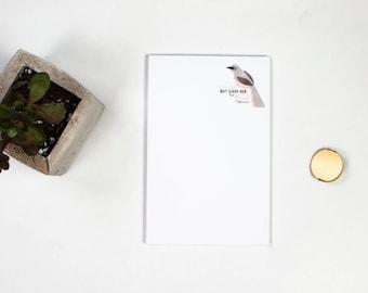 Notepad - Mockingbird, Cute Gift for Her, Personalized Notepad, Mockingbird Art, Custom Stationery, Hand Drawn Art
