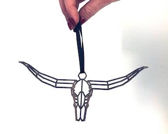 Longhorn Ornament, Modern Ornament, Wooden Ornament, Pink Longhorn, Pink Steerhead, Steerhead Ornament, Modern Christmas