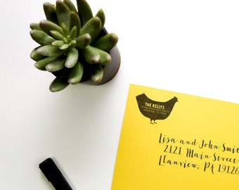 Personalized Address Stamp - Chicken