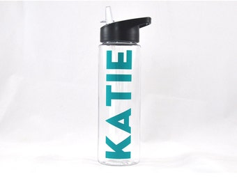 Custom Sport Bottle - Clear, Workout Water Bottle, Custom Water Bottle, Hydrate, Weekly Hydrate, Gifts for Her, Gifts for Kids, Travel Cup