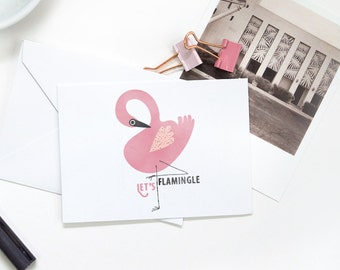 Folded Note Cards - Flamingo